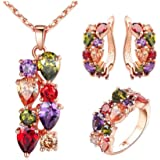 Swarovski Elements women's Luxurious colorful bangle Crystal Rose Gold Plated Charm Necklace Earrings ring Set