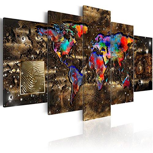 murando - Acrylglasbild Weltkarte 200x100 cm - 5 Teilig - Bilder Wandbild - modern - Decoration -Welt- Karte- k-A-0080-k-n