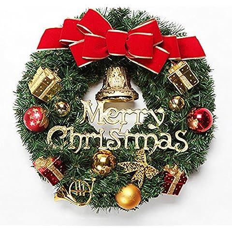 Guirnaldas decorativas campanas de Navidad cartas anillo de ratán colgadas decoraciones puerta puerta de Navidad, decoraciones, diámetro de