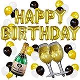 Sterling James Co. Conjunto de Globos Dorados de Cumpleaños y Champagne – Decoraciones de Fiesta de Cumpleaños – 21, 30, 40, 50 Años – Artículos Divertidos para Fiestas de Cumpleaños