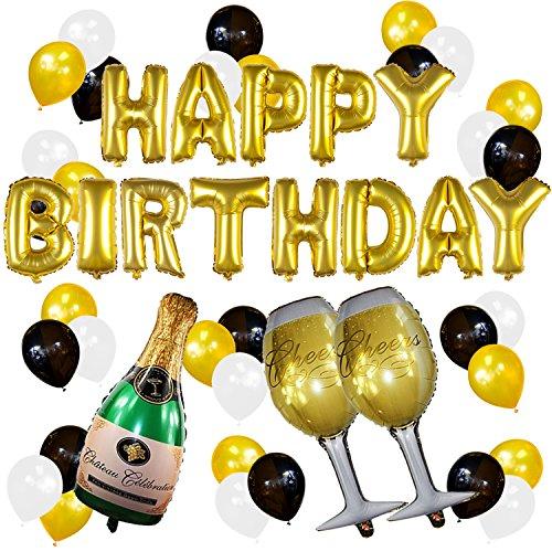 Sterling James Co. Happy Birthday Luftballons gold mit Champagner zu deinem Geburtstag – Geburtstags Party Deko Zubehör – 18. 30. 40. 50.