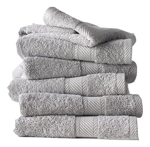 De witte lietaer - 194 844, set di 6 asciugamani da bagno, in cotone, grigio chiaro (gris clair), 100 x 50 cm