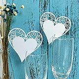 JZK 50 Perlato bianco cuore segnaposto segnatavolo segnabicchiere bomboniera per matrimonio compleanno Natale nascita battesimo comunione laurea