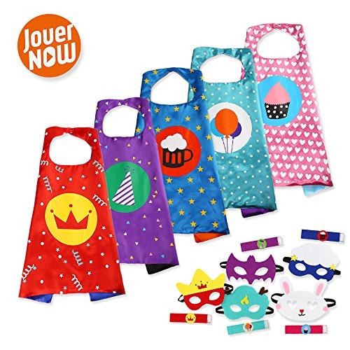 JouerNow Kinder 5 Kostüm Set Cape+Maske+Armband Geburtstag Party Dressup (Batman Cartoon Kostüme)