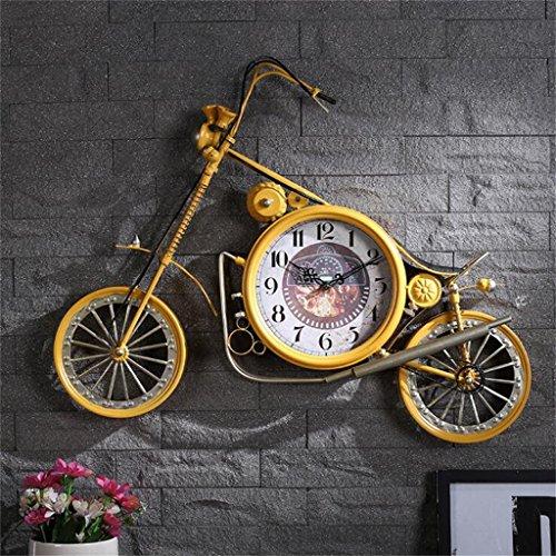 Kreative Persönlichkeit Eisen Handwerk Motorrad Mechanische Wanduhr Amerikanischen Stil LOFT Retro Mute Wanduhr Mode Dekorative Uhr Küche Wohnzimmer Büro Hotel ( Farbe : Gelb )