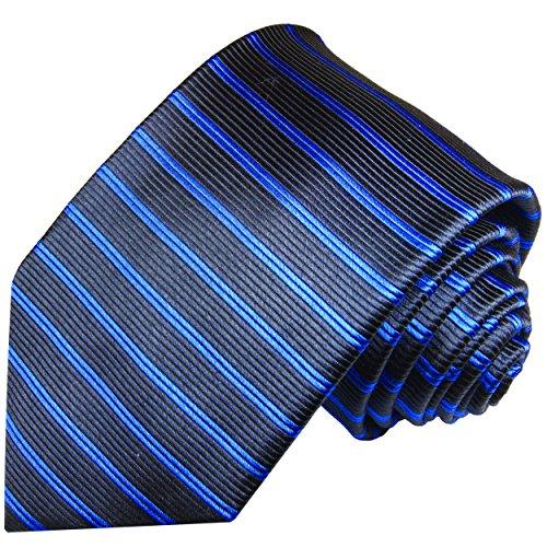 Cravate homme bleu noir rayée 100% soie