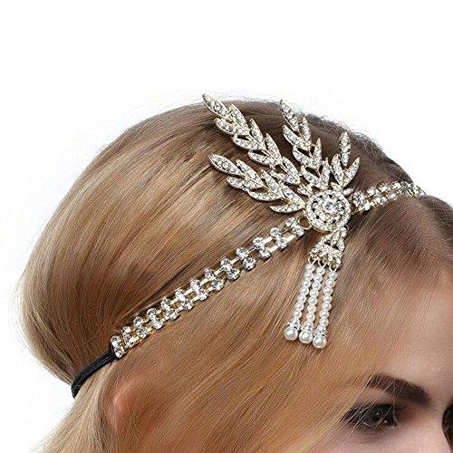 (1920s Stirnband Leaf Stil Strass Perle Kopfschmuck Flapper Haarband Great Gatsby haarschmuck für Damen)
