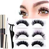Magnetic Eyeliner and Lashes Kit, [2019 New Invention] [Totally NO GLUE NEEDED Eyelashes Kit] Magnetic Liquid Eyeliner Waterproof & Long Lasting Must Have For Use With Magnetic False Eyelashes