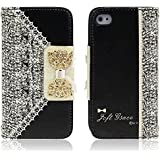 Malloom® Black Cute Flip Wallet Leather Case Cover for Smart Mobile Phones (iPhone 4 4S 4GS)