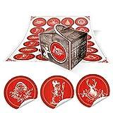 24 kleine braune Engel Geschenkschachtel mini Box Pappschachtel 8 x 6,5 x 5,5 + 24 runde Weihnachts-Aufkleber in rot-weiß mit Text und weihnachtlichen klassischen Motiven … Frohes Fest …