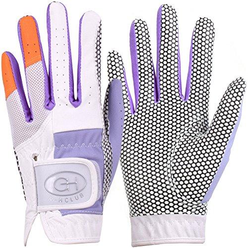 GH Leder Damen Golf Handschuhe One Paar-zwei Ton beide Hände, violett