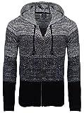Carisma Herren - Strickjacke 7397 Streetwear Menswear Autumn/Winter Knit Knitwear Sweater Hoodie Jacket CRSM CARISMA Fashion, M, schwarz,  M, Black