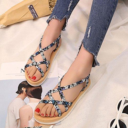 Longra Donna Sandali combinazione floreale Ferret Blu