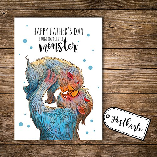 ilka parey wandtattoo-welt® A6 Postkarte Vatertag Print Monster mit Punkten und Spruch happy father's day from your little monster pk109