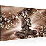Bilder Buddha Feng Shui Wandbild Vlies - Leinwand Bild XXL Format Wandbilder Wohnzimmer Wohnung Deko Kunstdrucke 70 x 40 cm Braun 1 Teilig -100% MADE IN GERMANY - Fertig zum Aufhängen 505414a