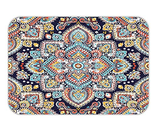 CHKWYN Doormat Indian floral Paisley Medallion Pattern Ethnic Mandala Ornament Vector Henna Tattoo Style can be 15.7X23.6 Inches/40X60cm - Tattoo-fußmatte