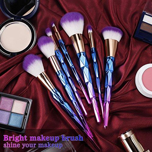 BESTOPE 7 PCS Cepillos del Maquillaje Kit de Pinceles de Maquillaje Kit de Cepillo del Sombreador de Ojos de la Fundación Suave Estupendo  Diamante