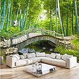 VVNASD 3D Murales Sfondo Parete Adesivi Decorazioni Piccoli Ponti Decorazione del Paesaggio di bambù Soggiorno Camera da Letto Arte Ragazze Camera (W) 140X(H) 100Cm