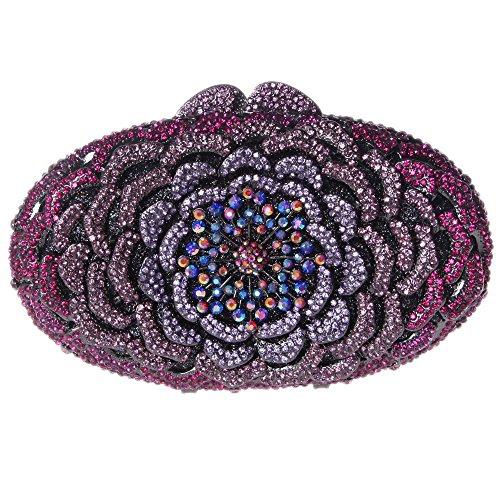 Santimon Clutch Delle Donne Fiore Borsellini Diamante Cristallo Strass Borse Da Festa di Nozze Sera Con Tracolla Amovibile 8 Colori viola