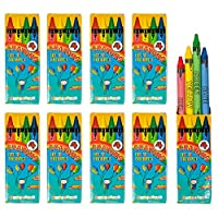 THE TWIDDLERS Bulk 50 Packs of Wax Crayons, each with 4 Assorted Colours per Pack - Ideal Toys for Party Favours & Bag Fillers Etc