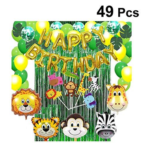 Amosfun 49 stücke Dschungel Geburtstagsfeier Dekoration tierfolie konfetti Ballon Vorhang Kuchen Topper Set für Kinder Wald Thema Geburtstag Baby dusche gefälligkeiten