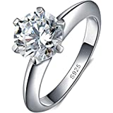 Naomi Women Fashion Jewelry Solitaire 1.5ct Cz Diamond Ring 925 Sterling Silver Engagement Wedding Band Ring for Women RW1345