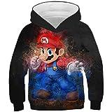 3D Mario Print Boys and Girls Hoodies Sudadera Adolescentes Otoño con Capucha para niños Ropa para niños Camisetas de Manga L