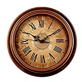 Foxtop 12 Inch Silent Vintage Wall Clock for Living Room Kitchen Dining Room Bedroom, Retro Wall Clock for Home Wall Decor
