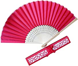 Voberry- Chinese Style Bamboo Silk Handheld Folding Fans with Gift Box for, Wedding Party and Home Decoration