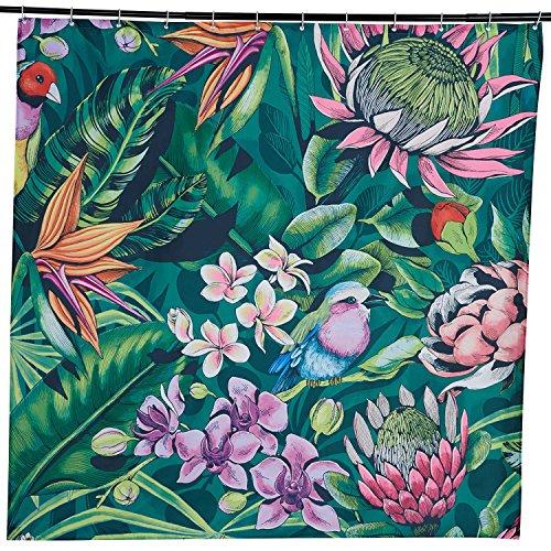 Alicemall Duschvorhang 180x180 Textil Schimmelresistenter Wasserabweisender Stoff-Duschvorhang Shower Curtain 180x180cm (Blumen) Stoff Dusche Vorhang Grün
