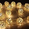 BabyIn 20 LED Christmas Indoor Rattan Ball Fairy Lights Ambiance Lighting for Bedroom Life, Wedding, Christmas, Party, Home (Warm White)