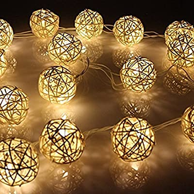BabyIn 20 LED Christmas Indoor Rattan Ball Fairy Lights Ambiance Lighting for Bedroom Life, Wedding, Christmas, Party, Home (Warm White)