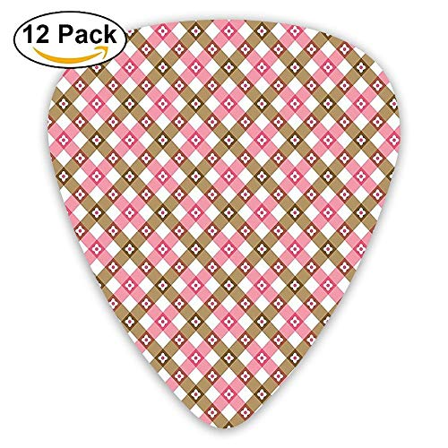 Pink And Brown Stripes With Flowers Retro Plaid Design Geometric Print Guitar Picks 12/Pack Set -