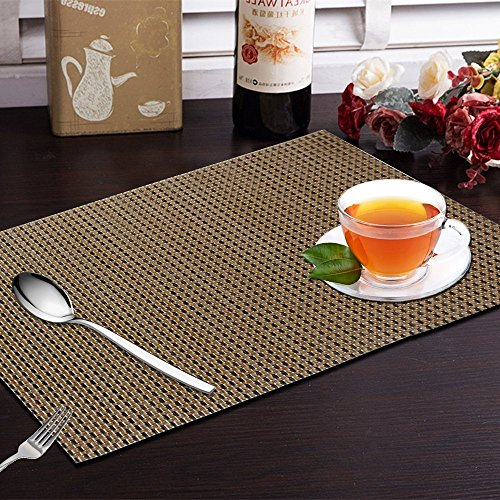 Yellow Weaves™ 6 Piece Dining Table Placemats - Copper Black