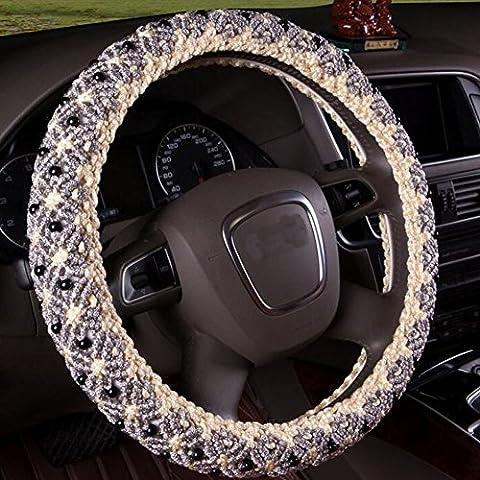 B & Y main perles Glace Automotive Housse de volant en SOIE avec 38cm/38,1cm Diamètre Gris Gris