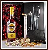 Geschenk Irish Mist Original Honey Whiskey Liqueur + 1 Portionierer + 10 Edel Schokoladen von DreiMeister & DaJa + 4 Whisky Fudge, kostenloser Versand