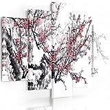 Feeby Frames, Quadro multipannello di 5 pannelli, Quadro su tela, Stampa artistica, Canvas (CILIEGIO GIAPPONESE, BIANCO, ROSSO, NERO) 70x100 cm, Tipo A