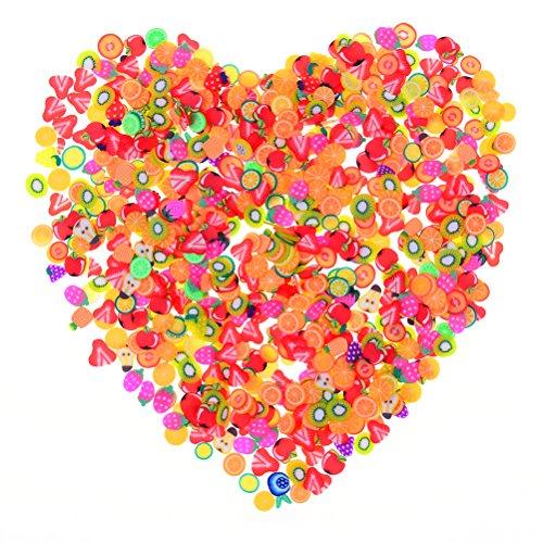 Fruchtmuster-Scheiben, 1000 Stück, Polymer, Ton, Obst, Fimo, für Schleim, Basteln, Nagelkunst, Dekorationen, Zubehör