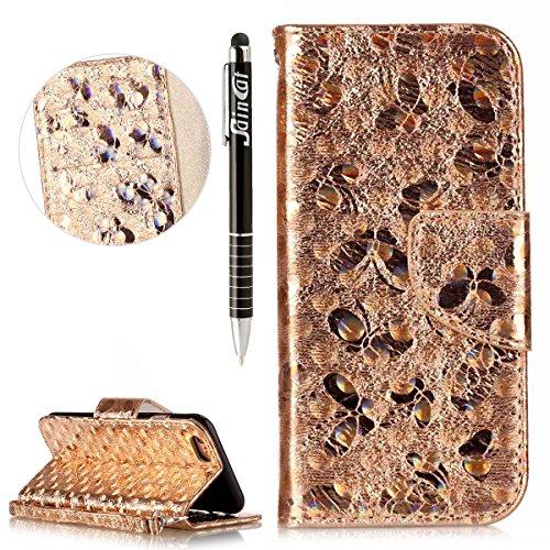 Custodia iPhone 6 Plus, iPhone 6S Plus Flip Case Leather, SainCat Custodia in Pelle Cover per iPhone 6/6S Plus, Anti-Scratch Book Style Protettiva Caso Elegante Creativa Dipinto Pattern Design PU Leat doro