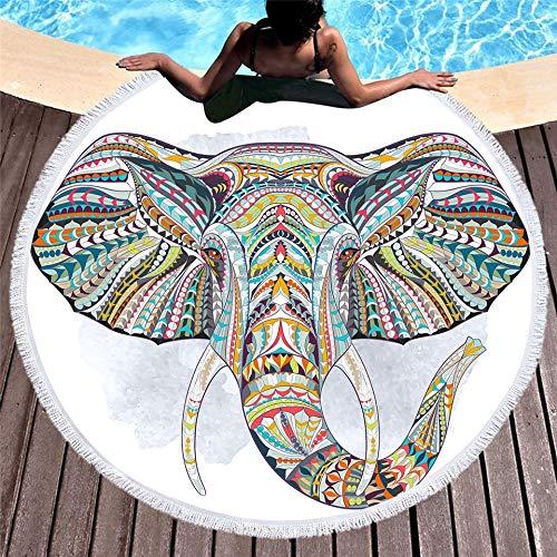 it Fransen, 150 cm rundes großes Strandtuch aus Mikrofasergewebe für Erwachsene Kinder Elefant Quaste Badetuch Mandala Tapisserie Decke Picknickmatte ()