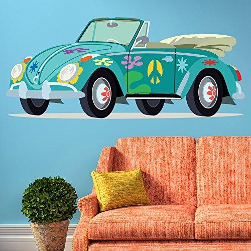 Azul VW Escarabajo vinilos decorativo Hippy Coche adhesivos pegatina pared Paz amor Decoración del hogar Disponible en 8 Tamaños Gigantesco Digital