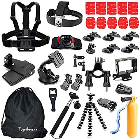Togetherone 45 en 1 Kit d'accessoires pour Gopro Hero Session Black Silver 5 4 3+ 3 2 1, SJCAM SJ4000 SJ5000 SJ6000, APEMAN, WiMiUS, VicTsing, Campark, TecTecTec, VTIN, Topop, ICONNTECHS IT Caméra Sport Accessoires Trousse