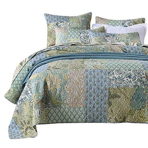 NEWLAKE Bohemian Floral Muster Tagesdecke Quilt Set mit Echten Genäht Stickerei, Queen Size -