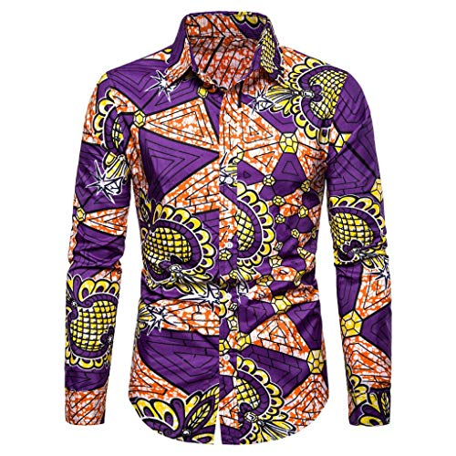 Notdark Herren Hemd Langarm Freizeit Casual Basic Bluse Top die Revers Regular Fit T Shirts Floral Gedruckt Männer Slim Fit Hemden(2XL,Violett) -