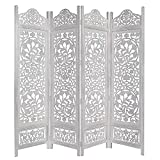 Kamal The Lotus Antique White 4 Panel Handcrafted Wood Room Divider Screen 183x203, Intricately carved on both sides making it fully reversible, highly versatile. Hides clutter, adds dÃcor