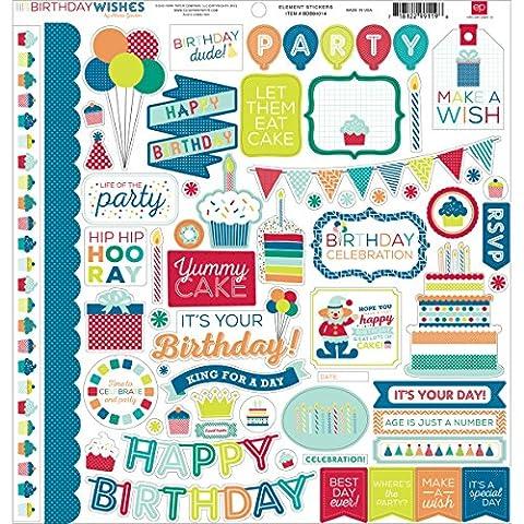 Echo Park Paper Birthday Wishes Boy Element Cardstock Stickers, 12