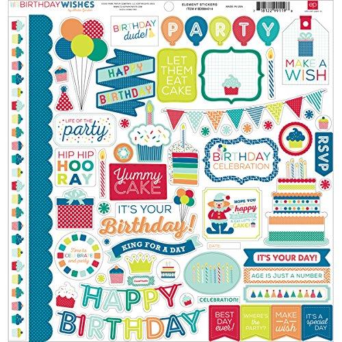 Echo Park Paper Birthday Wishes Boy Element Karton Aufkleber, 30,5cm von 30,5cm (Park-element)