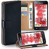 moex Samsung Galaxy J1 (2016) | Hülle Schwarz mit Karten-Fach 360° Book Klapp-Hülle Handytasche Kunst-Leder Handyhülle für Samsung Galaxy J1 2016 Case Flip Cover Schutzhülle Tasche