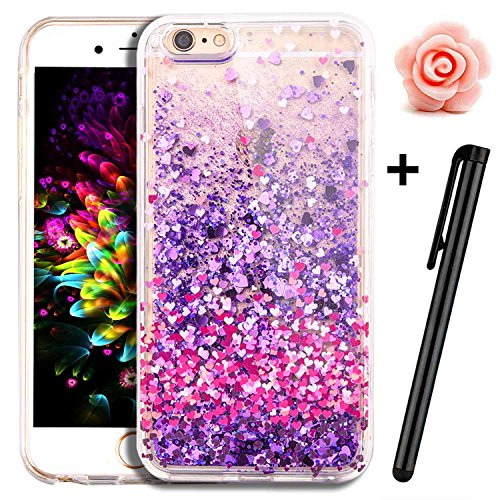 iPhone 7 case, iPhone 7 glitter case, Toyym 3D Funny Floating [Bling] [Liquid] custodia con Sparkle Love Stars Quicksand in, cartoon Unicorn pattern design, glitter Shinny lusso hard shell con bumper  Love Heart#5