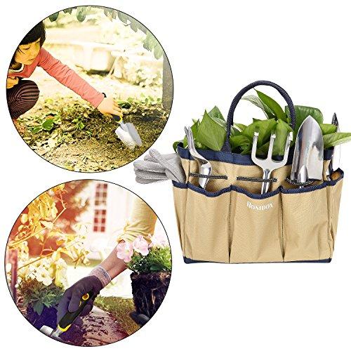 Gartenwerkzeug Sets 9 in 1 aus Hochwertigem Polyester und Aluminium Robust und Rostfrei für Hobby- und Profigärtner mit Tasche (Beige)